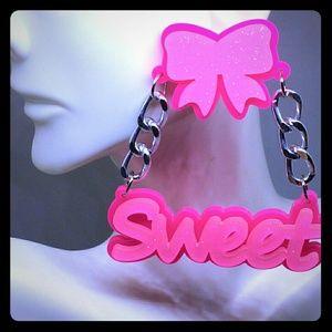 Barbie Pink Bow & Silver Chain SWEET Earrings